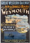 New & Direct Route to Weymouth, Dorset. GWR Travel Poster by Alec Fraser